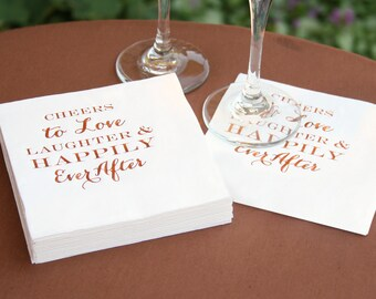 Cocktail Napkins Copper Foil Text For Wedding Receptions, Anniversary Parties Or Other Happy Occasions, 50 Napkins Per Set