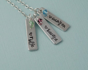 Hand stamped Mother's necklace, personalized name necklace, birthstones, Grandmother's necklace / Sterling silver filled