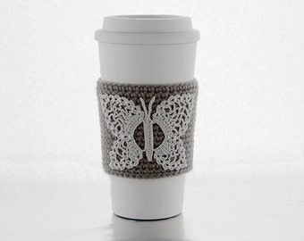 Butterfly Coffee Cozy, crocheted, taupe, brown, beige, cream butterfly
