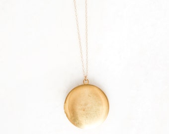 ECLIPSED LG. long brass locket necklace. long layering necklace. long necklace. keepsake necklace. mother's necklace. jeremiah 33:3