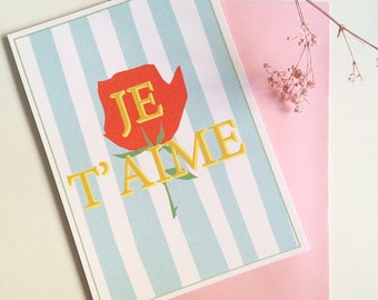 card JE T'AIME - I love you card - french