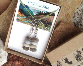 Rock Cairn Earrings Stacked Beach Stones Zen Jewelry The Mountains Are Calling
