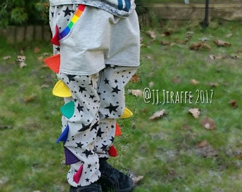 Dino Pants, Dino Spike Joggers, 2-3y to 7-8y. Made to order, Stars & rainbows, bright, unusual, funky kids wear, handmade, unique