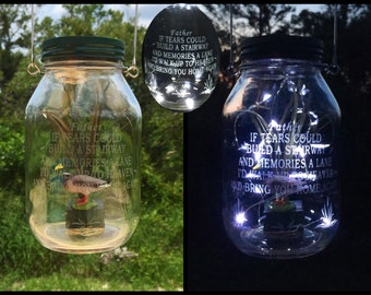 Cemetery Decoration Solar Light Loss Of Father Grave Decoration Engraved Memorial Cemetery Lantern Hanging Jar Lights Grave Lantern Sympathy