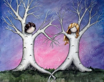 Tangled - 8x10 Art Print - Whimsical Tree Couple with Heart Branches and Intertwined Roots - Art by Marcia Furman