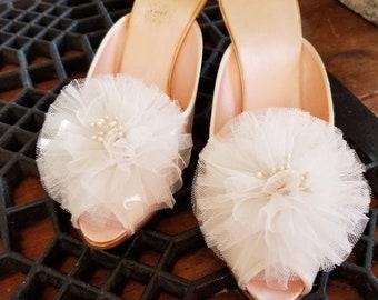 Vintage 40's/50's Daniel Green satin peep toe slippers/mules Size 5-6
