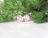 Botanical Accessories - Natural Earrings Real Iridescent Lavender Sea Shells with Goldleaf - Gifts for her, Terrarium Jewelry