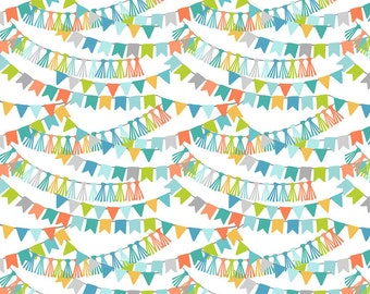 CALLIOPE fabric cotton patchwork Bannerline Blue Garland of multicolored flags on white x 50 cm
