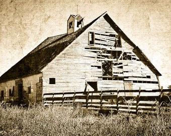 Barn Photography, weathered barn, steeple, fence, rustic, architecture, Country Home Decor, Fine Art Print
