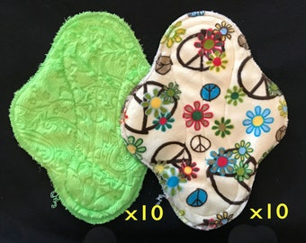 20-pack cloth pad making kit, unfinished, regular length medium flow, Lime Paisley and Flower Child