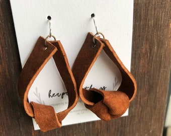 Handcut Leather Knotted Earrings || Choose Your Color || Hypoallergenic
