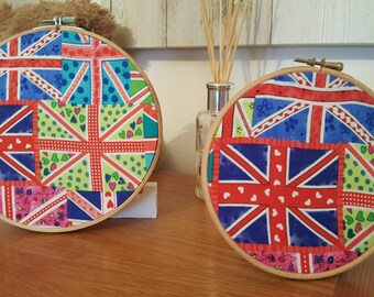 Union flag embroidery hoop wall art