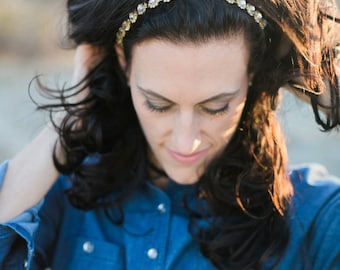 Gold Wedding Headband, Tie-back Headband, Bridal Headband, Bridal Headpiece, Prom Headband, Bridesmaid Headband, Wedding Accessory