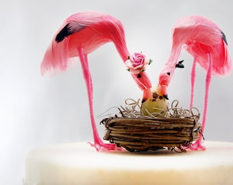 Pink Flamingo Baby Shower Cake Topper: Tropical Mom, Dad and Baby - Love Bird Cake Topper