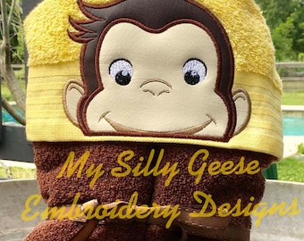 DIGITAL FILE 5x7 Curious Monkey Peeker hooded towel embroidery design hoodie towel topper bow holder