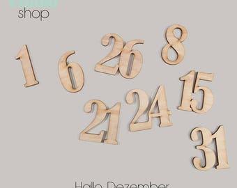 081-Hello December wood numbers