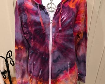Unisex Tie Dye Hoodie Zip Up Ice Dyed Heart Design One of a Kind, Cotton Rich Jumper Sweatshirt purple and blue