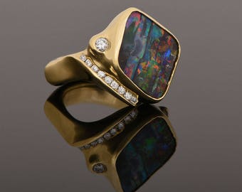 Boulder Opal and Diamond One-of-a-Kind Handmade 18K Yellow Gold Ring (IND1028)