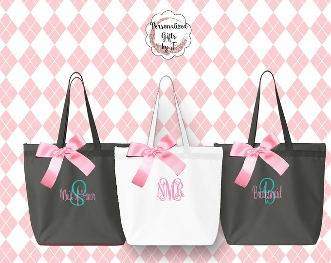 Monogrammed Tote, Zippered Tote Bag, Bridesmaid Gift, Set of 7, Personalized Bridesmaid Tote, Wedding Party Gift,  Name Tote