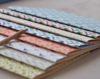 Printed notebooks, handbound, various patterns, to write on, A5