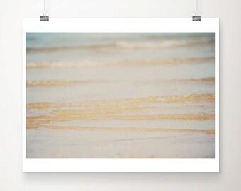 SALE beach photography ocean photograph water ripples print gold wall decor nature photograph beach decor sea photography coastal wall art