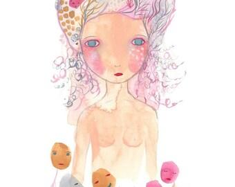 Friends print, pink and purple strange girl art