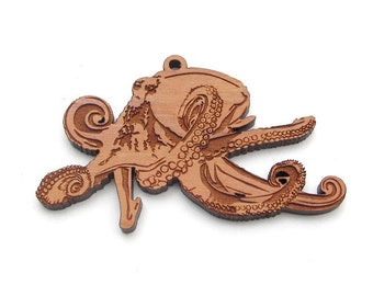 Octopus Ornament - Intriguing Monster Of The Deep Octopus Wood Ornament