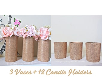 Blush Champagne Gold Wedding Centerpiece Decor, Rose Gold Wedding, Rose Gold Decor, candle holders, flower vases, Baby shower centerpiece,