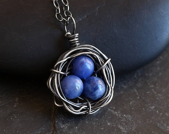 Bird Nest Necklace - Sterling Silver Necklace - Blue Necklace - Sodalite - Mothers Day Gift - Mothers Gift - Gift for Her - Xmas Gift - Wife