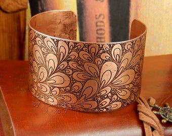 Etched copper cuff, etched copper bracelet, copper bangle, statement bracelet, statement jewellery, hand drawn design