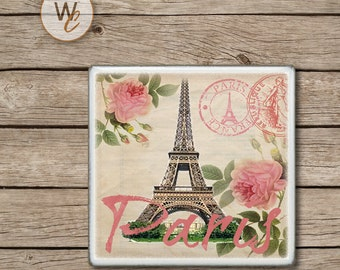 Paris Drink Coaster,  Shabby Chic Ceramic Tiles, Housewarming Gift, Wedding, Pink Roses on Vintage Postcard, Eiffel Tower, Made To Order