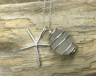White sea glass pendant with silver star fish charm - jewellery - sea glass jewelry - necklace 0154