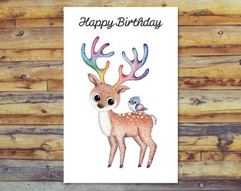 Printable birthday card groovy sea turtle card blank card deer birthday card printable birthday card digital download card blank greeting card bookmarktalkfo Image collections