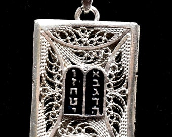 Torah Book Sefer Torah Pendant Open & Close in Sterling Silver 925