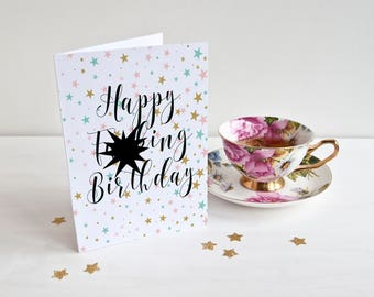 Print At Home - Happy F*cking Birthday Card, Printable Card, Mature, Instant Download, Funny Birhday Card, Print at Home