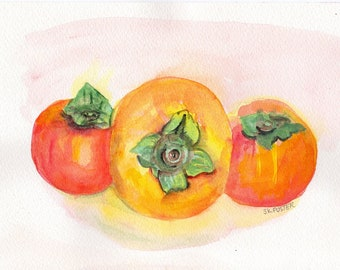 Persimmon watercolor painting Original, persimmons still life painting, orange fruit original  watercolor,   Farmhouse Decor
