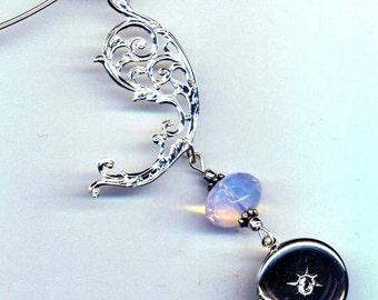 Silver Locket . Silver Filigree Paisley. Prom Pendant . Aqua Quartz Faceted Briolette . Choker Necklace -  Memories by enchantedbeas on Etsy
