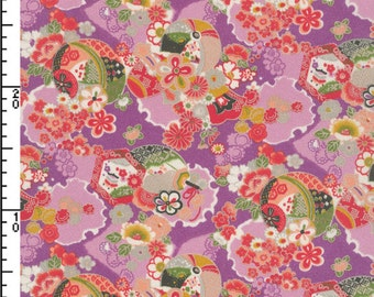 Japanese Fabric ~ Kokka Fabric ~ Sakura Kimono Fabric ~ Purple Futakoshi Chirimen ~ Apparel Fabric ~ Home Decor Fabric~100% Polyester Fabric