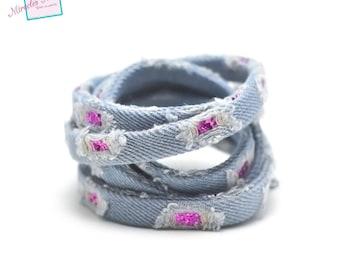 "1 m cord/thong jean ""vintage sequin"" 10 x 2 mm blue clear/fuchsia"