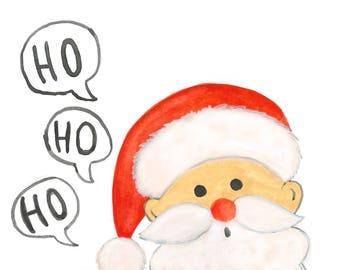 Santa Claus is coming to Town - Watercolor Print/Home Decor/Wall Art/Postcard/Greeting Card/Gift Tag