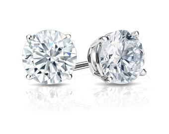 14k Gold 4-Prong Basket Round Diamond Stud Earrings 0.25 ct. tw. (H-I, I1)