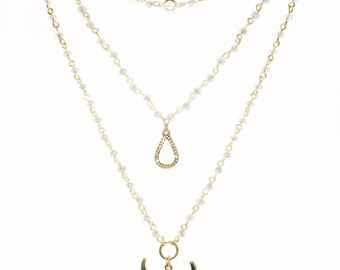 Gold Tri Layered Rosary Chain Necklace with Charms, Multi Layered Necklace