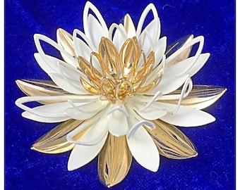 White Lotus Flower Brooch, Vintage Sarah Coventry White Enamel and Gold Lotus Flower Pin