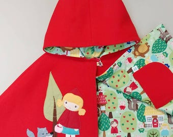 Red Riding Hood Capelet. Children Cape, Poncho, Costume, Halloween, Handmade, Wool, Girls,  Ready to Ship