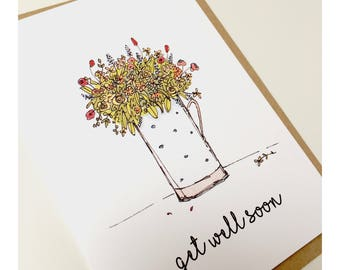 A set of five hand-drawn and printed notecards, notelets, greetings cards