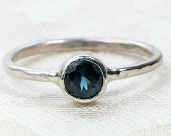 Navy Blue Spinel and Sterling Silver Ring - Ready to Ship Gifts - Size 6 Ring - Blue Stone Ring - Spinel Ring - Something Blue for Bride