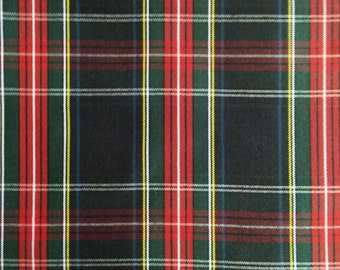 60 Inch Wide Black Stewart Tartan Plaid Fabric Upholstery Home Decorating Crafts