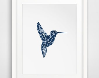 Navy Hummingbird, Blue Bird Art, Navy Geometric, Geometric Animal, Blue Decor, Navy Decor, Printable Artwork, Printable Wall Art