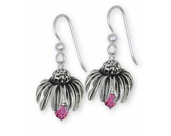 Purple Coneflower Earrings Jewelry Sterling Silver Handmade Flower Earrings PCF1-EBD