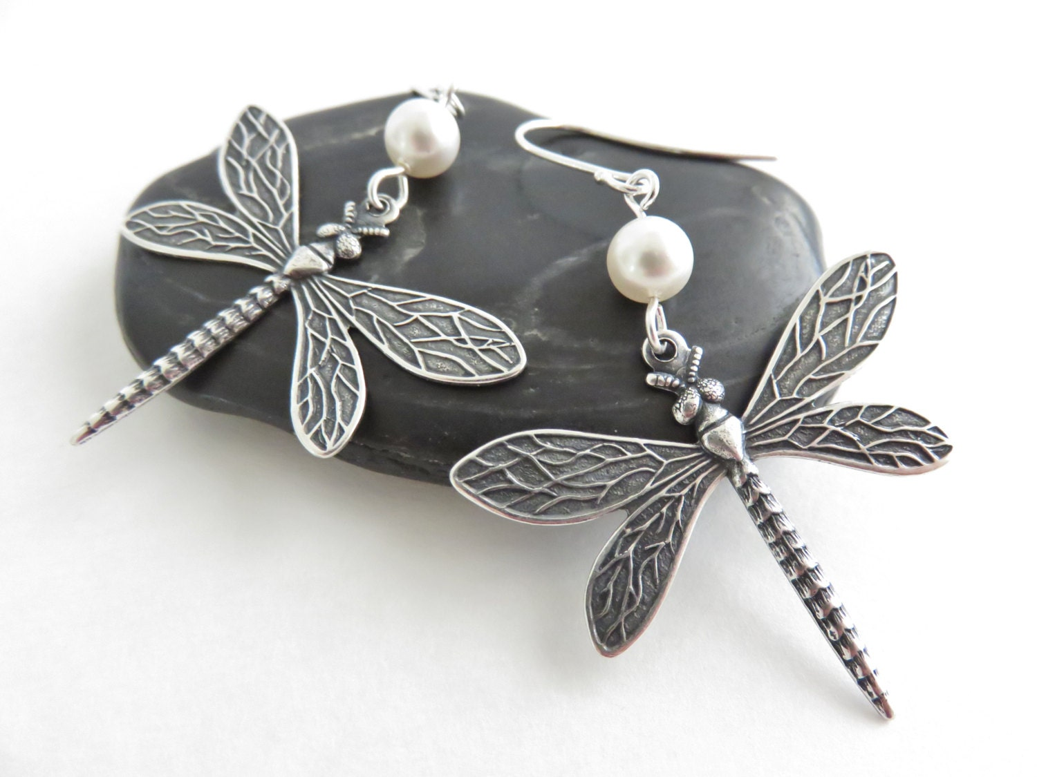 Silver Dragonfly Earrings With White Pearls Dragonfly